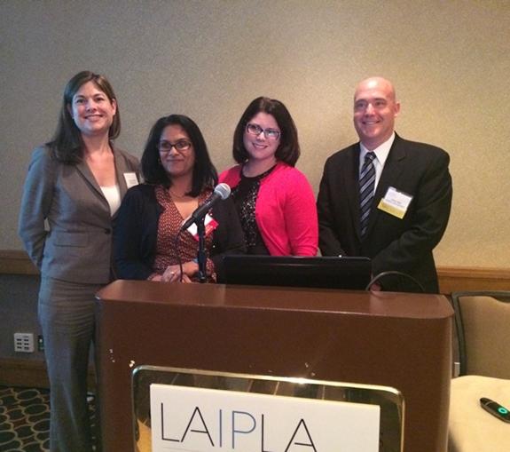 (L to R) Tanya Forsheit,(InfoLawGroup LLP, Speaker) Sanjesh Sharma, (Abbott Medical Optics), Sari Heller Ratican, (Amgen, Speaker),Chris Pahl, (Southern California Edison, Speaker) at LAIPLA's Annual Meeting and Dinner presentation on Hot Topics in Privacy Law.