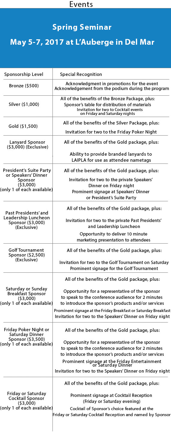 LAIPLA Different Spring Seminar Sponsorship Packages