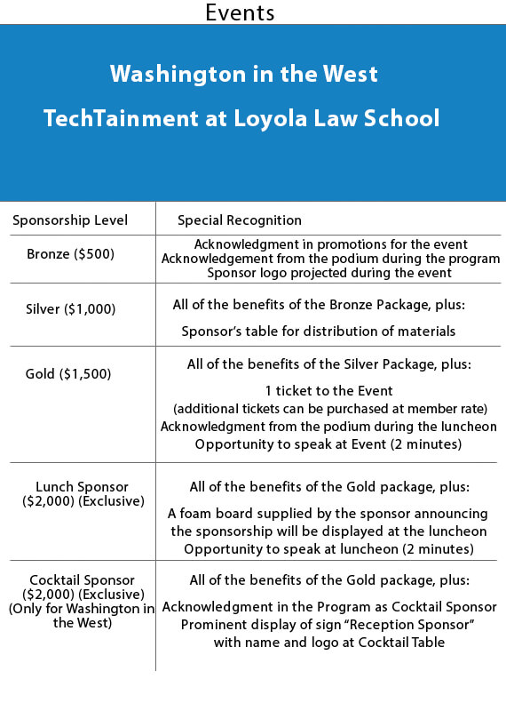 LAIPLA Sponsor Packages For Washington In The West And TechTainment At Loyola Law School Events