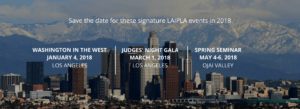LAIPLA event listing with downtown Los Angeles skyline