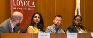 Diverse group of panelists at LAIPLA TechTainment event at Loyola Law School in Los Angeles