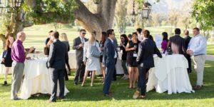 Group of members at outdoor reception at LAIPLA Spring Seminar 2018 at Ojai Valley Inn Resort