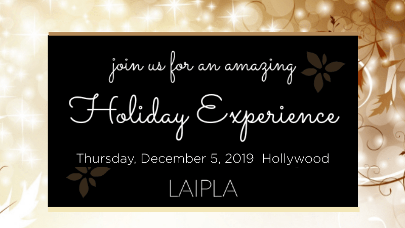 Banner for LAIPLA holiday party in Hollywood, December 5, 2019