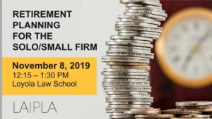Retirement planning event for solo and small law firms