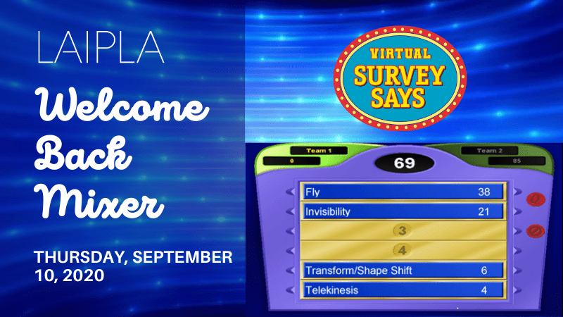 LAIPLA Welcome Back Mixer banner promoting virtual Survey Says game