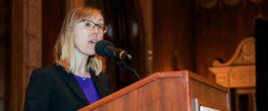 Sarah Brooks speaking from LAIPLA podium