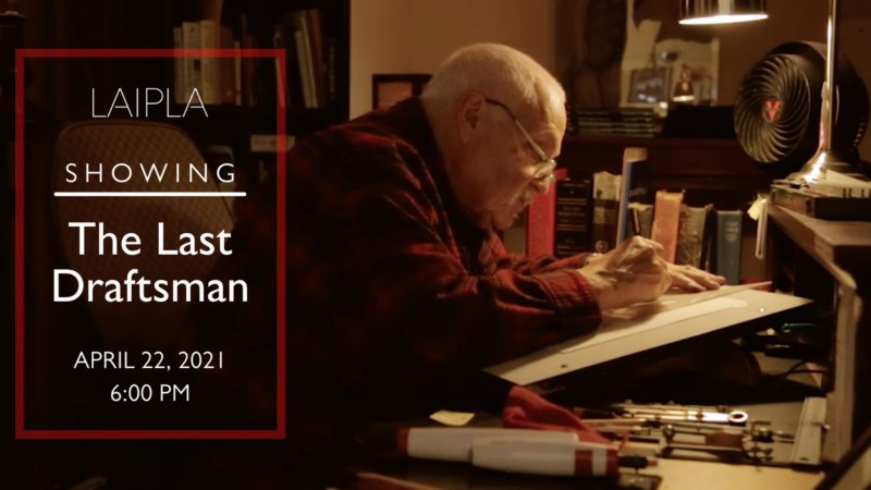 Photo of aged man sitting at drafting desk